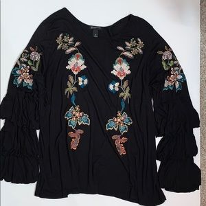 INC Boho Tiered Bell Sleeve, Embroidered Top EC 3X